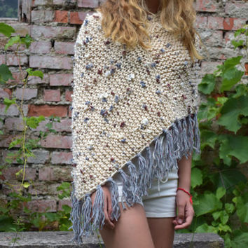 Teen girl knit shrug Girls fringe poncho Hand Knitted Poncho Wrap Capelet loose Knit Summer shoulders warmer knitwear Teen gift Womens shrug