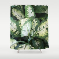 Painted Green Foliage  Shower Curtain by KCavender Designs