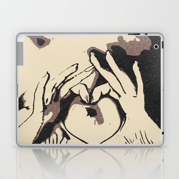 You heart me, naughty girl teasing, sexy nude woman, kinky hands gesture, dirty black and white art Laptop & iPad Skin by Peter Reiss