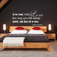 As he read, I fell in love... - Wall Decals Quotes - Wall Vinyl Decal Love - Wall Home Decor Bedroom Family Decal - Wall Quote Decal V1016