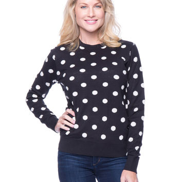 Premium Cotton Crew Neck Sweater - Polka Dots Black/Ivory