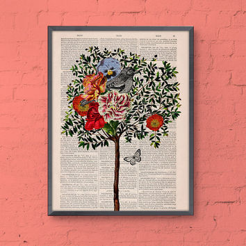 Wall decor Collage Tree with Bird Print on Vintage Book page - Perfect  gift- altered art -dictionary page illustration book print