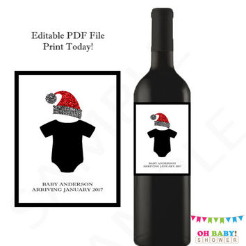Christmas Pregnancy Announcement Onesuit Wine Label Christmas Baby Announcement Reveal to Grandparents Husband Friends Brothers Personalized