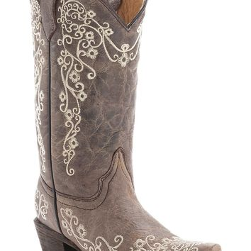 Corral Kid's Distressed Tan w/Ivory Embroidery Snip Toe Western Boots