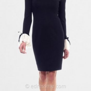 Black Ivory Long Lace Bell Sleeved Cocktail Dresses from NUE by Shani