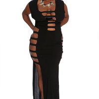 Black Strappy Cut Outs Sexy Maxi Plus Size Dress