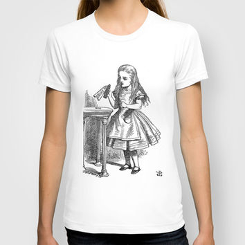 Drink Me vintage Alice in Wonderland emo goth antique book sketch drawing print T-shirt by iGallery