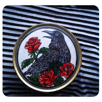Handpainted metal box Crow and roses custom case