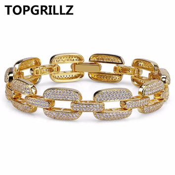TOPGRILLZ Hip Hop Gold/Silver Color Iced Out Micro Pave
