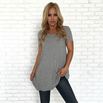 See You Later Pocket Tunic Top In Grey