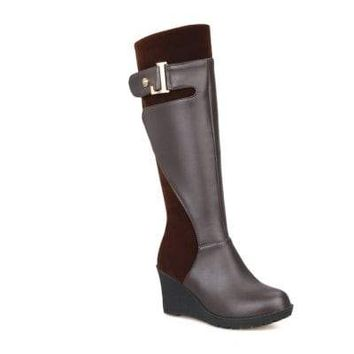Round Toe with Stylish Suede Stitching Knee High Wedge Boots*