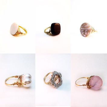 Rings! | Pink, Pearls, Black Gemstone Rings | Bourbon and Boweties inspired | wire wrapped