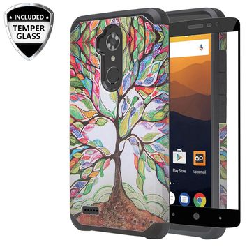 ZTE Max XL, ZTE Blade Max 3, ZTE Max Blue Case, [Include Temper Glass Screen Protector] Slim Hybrid Dual Layer [Shock Resistant] Case for Max XL - Vibrant Tree