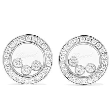 Chopard - Happy Diamonds 18-karat white gold diamond earrings