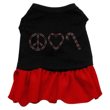 Peace Love Candy Cane Rhinestone Dog Dress - Black with Red/Small