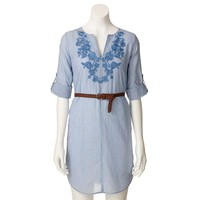 LC Lauren Conrad Striped Embroidered Tunic Shirtdress