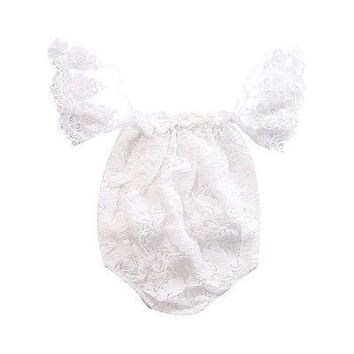 Newborn Infant Baby Clothes Girls Floral Lace Off Shoulder Ruffle Romper Jumpsuit Outfit Sunsuit Summer One-Piece Baby