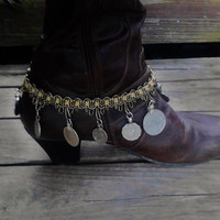 Gypsy Tribal Coin Boot Anklet Pirate Accessories Bellydance Coins