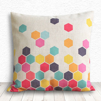 Geometric Pillow Cover, Pillow Cover, Pillow Cover Geometric, Linen Pillow Cover, 18x18 - Printed Geometric - 101