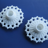 Vintage Wedding Decor Milk Glass Candle Holders