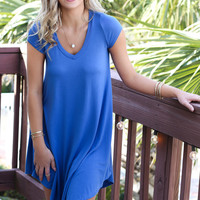 The Last Song Moon Blue V-Neck Short Sleeve Casual Dress