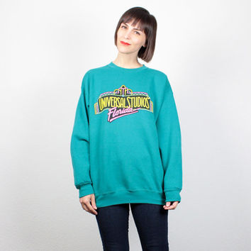 Vintage 90s Sweatshirt Teal Green Universal Studios Florida Theme Park 1990s Novelty Print Sweater Jumper Pullover Tshirt XL Extra Large
