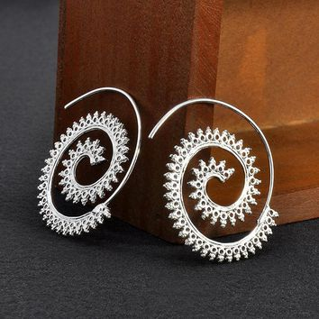 New Women Fashion Jewelry 925 Sterling Silver Plated Spiral Swirl Hoop Earrings