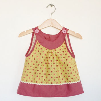 Sleeveless baby girl top, 12-18 months, vintage fabric, yellow and pink, retro baby, toddler clothing, retro kids, Etsy UK