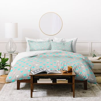 Bianca Green Geometric Confetti Party Duvet Cover