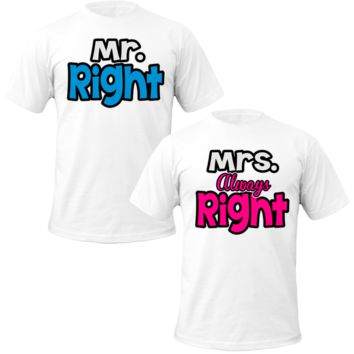mr and mrs right Couple Tshirts