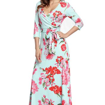 Chicloth Turquoise Floral Print Wrapped Long Boho Dress