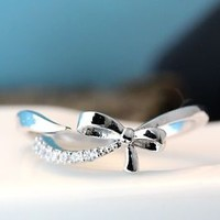 Open Ribbon Bow Ring Crystal tail Womens Jewelry Adjustable Free Size Gift Idea