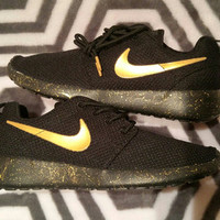 VALENTINES DAY SALE!!! 10 dollars off!! Custom Nike roshe run black and gold