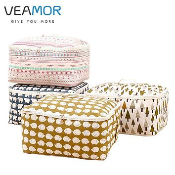 VEAMOR Waterproof Moistureproof Cotton and Linen Clothing Quilts Bags Handles Double Zipper Cabinets Storage Bags WB070