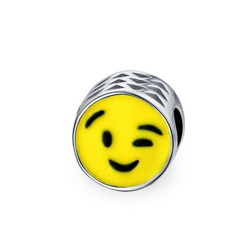 Winking Smiley Face Emoticon Yellow Charm Bead 925 Sterling Silver