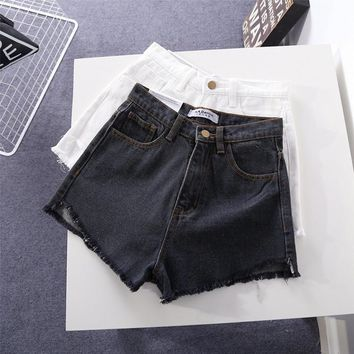 American Apparel All-match Fashion Tassel Edge High Waist Denim Shorts Hot Pants Jeans