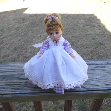 1970s Vintage Madame Alexander Kins 8 In. Meg Doll, Little Women, Bend Knee, Purple Gingham Dress, Pantelettes, Slip, Brooch, Vintage Doll