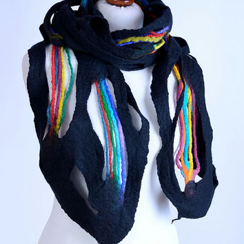 Rainbow dragonfly wing scarf - black & multicolor, open weave, art felt shawl with colorful felted rope stripes - fine merino wool [S103]
