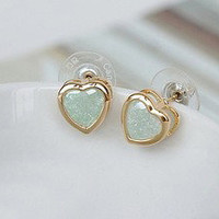 Bestgoods — Cute Retro Sweet Heart Green Earrings