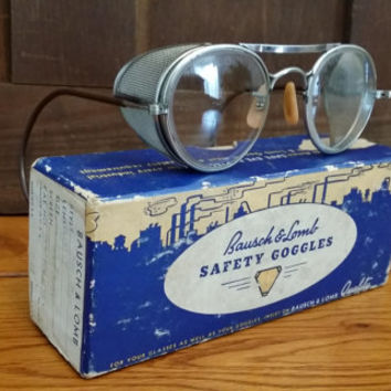 Vintage Bausch and Lomb Victorian Steampunk Motorcycle Safety Goggles With Metal Mesh Blinders In Original Box