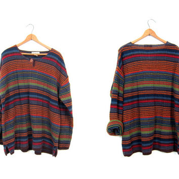 Loose Knit HARVEST Sweater 90s Cotton Orange Blue Green Striped Pullover Sweater Thermal Henley Preppy Boho Fall Sweater Top Mens Medium