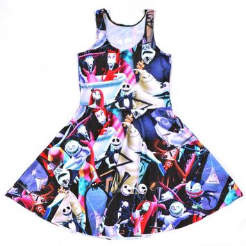 1160 Women's 3D printing cartoon The Nightmare Before Christmas prints elastic summer sexy Girl skater one-piece pleated dress