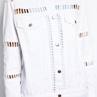 ASOS White Denim Jacket with Ladder Insert
