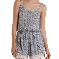 White/Blue Crochet-Trim Printed Tulip Romper by Charlotte Russe
