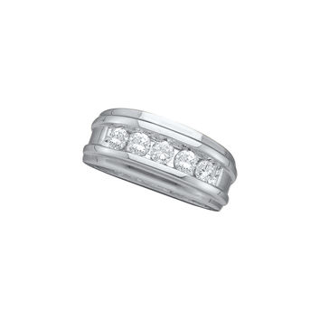 14kt White Gold Mens Round Diamond Band Wedding Anniversary Ring 1.00 Cttw 26273