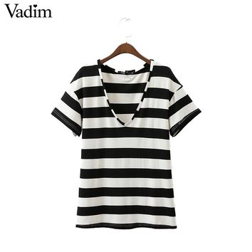 Women sexy V neck striped loose T shirt elastic short sleeve basic tees ladies summer casual tops