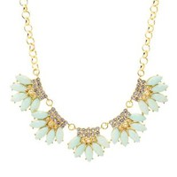 Faceted Stone Petal Statement Necklace by Charlotte Russe - Lt Blue