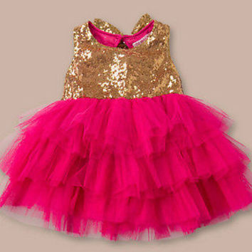 Gold Sequins Tutu Event Party Dress For Baby Girls Clothes Bow Formal Dress HU