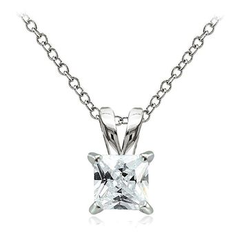 925 Sterling Silver 2ct Cubic Zirconia 7mm Square Solitaire Necklace