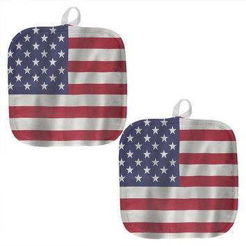 DCCKU3R July 4th American Flag Waving All Over Pot Holder (Set of 2)